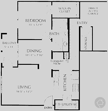 1/1 815 sqft floor plan