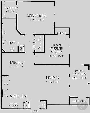 1/1 874 sqft floor plan