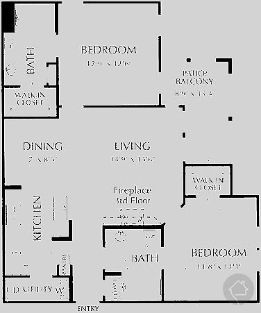 2/2 1007 sqft floor plan