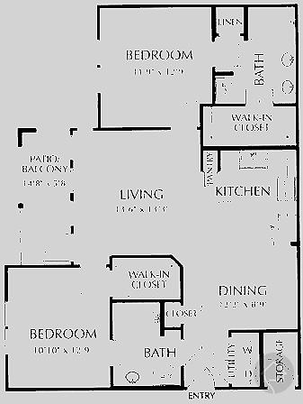 2/2 1056 sqft floor plan