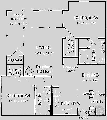 2/2 1172 sqft floor plan