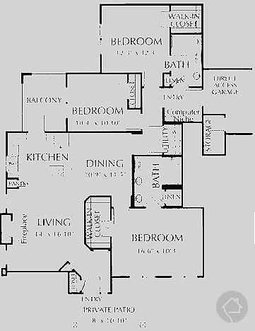 3/2 1467 sqft floor plan