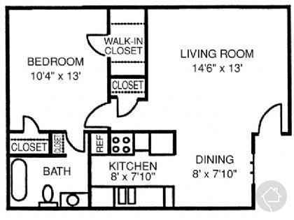 1/1 622 sqft floor plan
