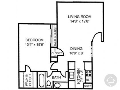 1/1 670 sqft floor plan