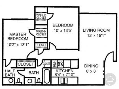 2/1.5 865 sqft floor plan