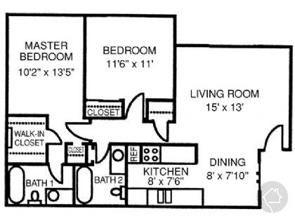 2/2 891 sqft floor plan