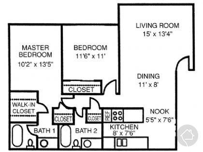 2/2 988 sqft floor plan