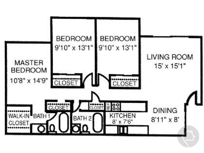 3/2 1156 sqft floor plan