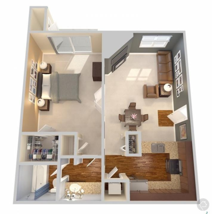 1/1 646 sqft floor plan