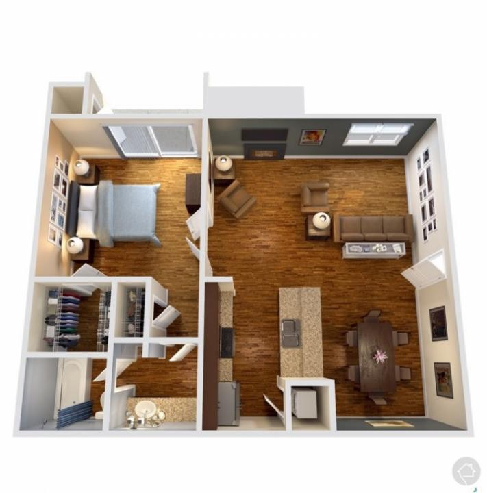 1/1 686 sqft floor plan