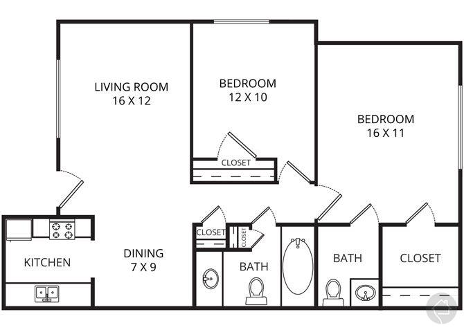 2/1.5 875 sqft floor plan