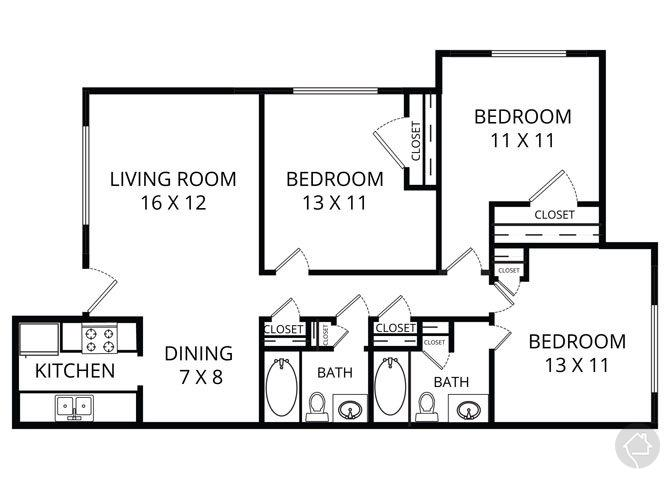 3/2 1032 sqft floor plan