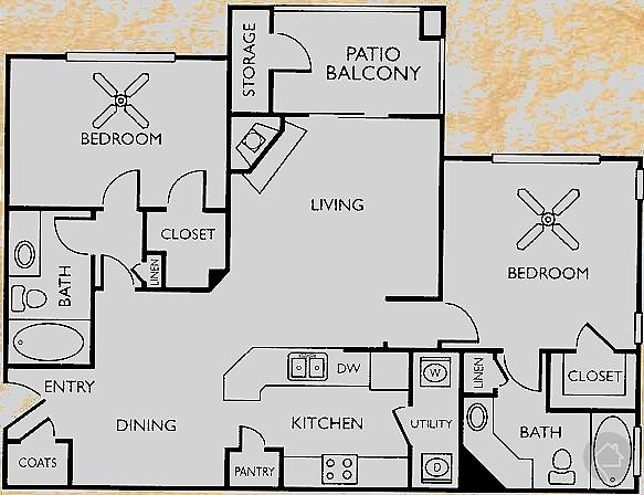 2/2 1133 sqft floor plan