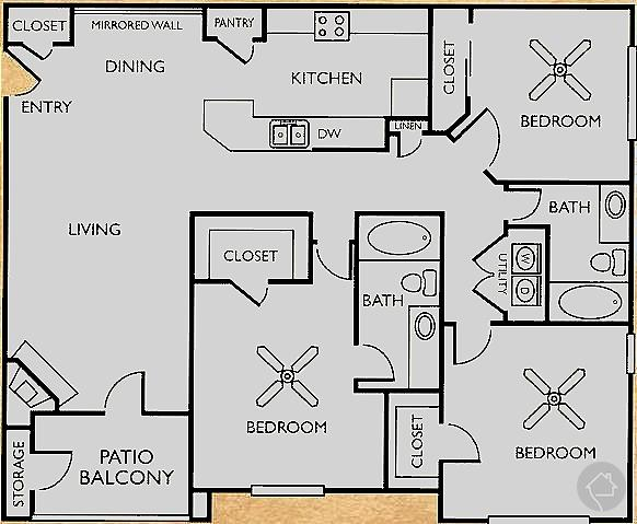 3/2 1325 sqft floor plan