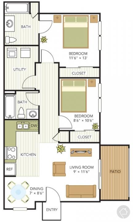 2/2 911 sqft floor plan
