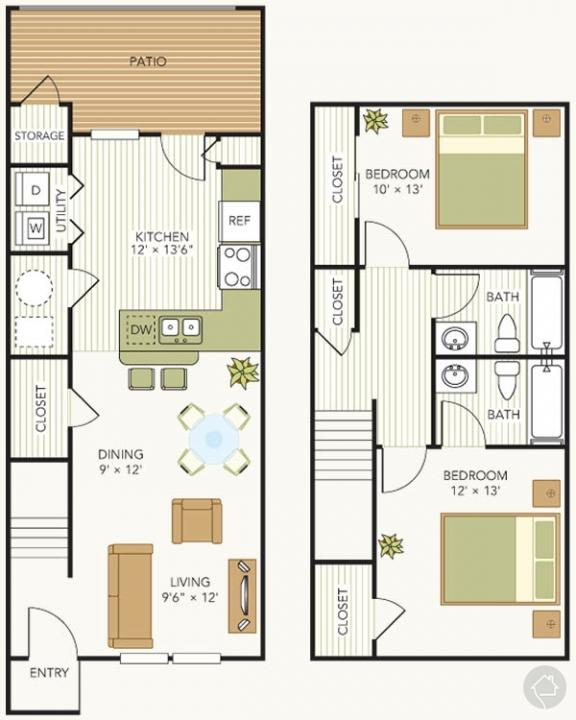 2/2 1110 sqft floor plan