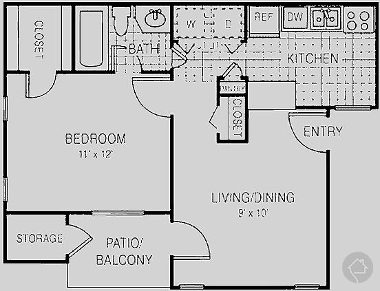 1/1 555 sqft floor plan