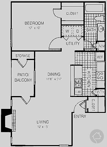 1/1 743 sqft floor plan