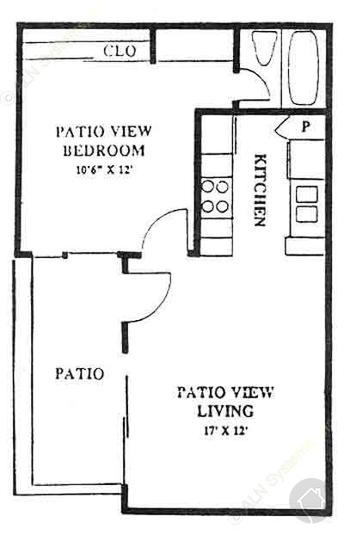 1/1 570 sqft floor plan