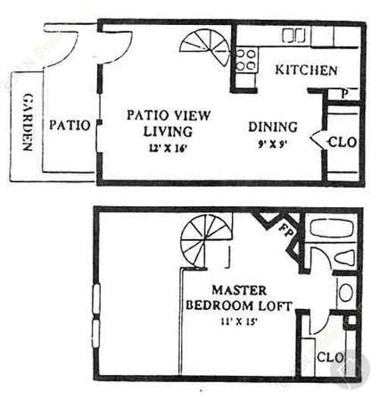 1/1 672 sqft floor plan