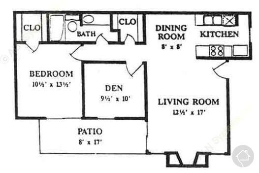 2/1 810 sqft floor plan