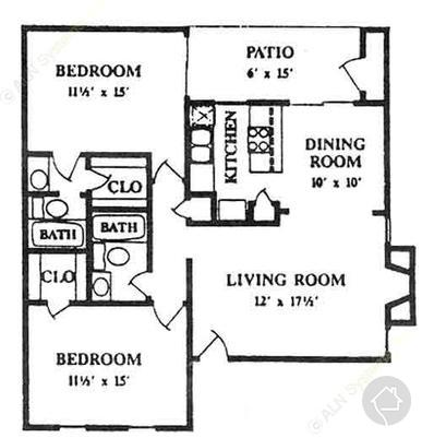2/2 982 sqft floor plan