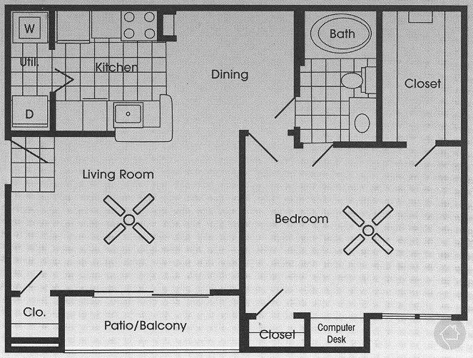 1/1 761 sqft floor plan