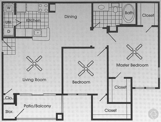 2/1 1064 sqft floor plan
