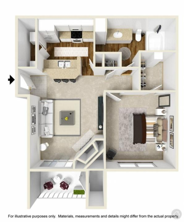 1/1 601 sqft floor plan