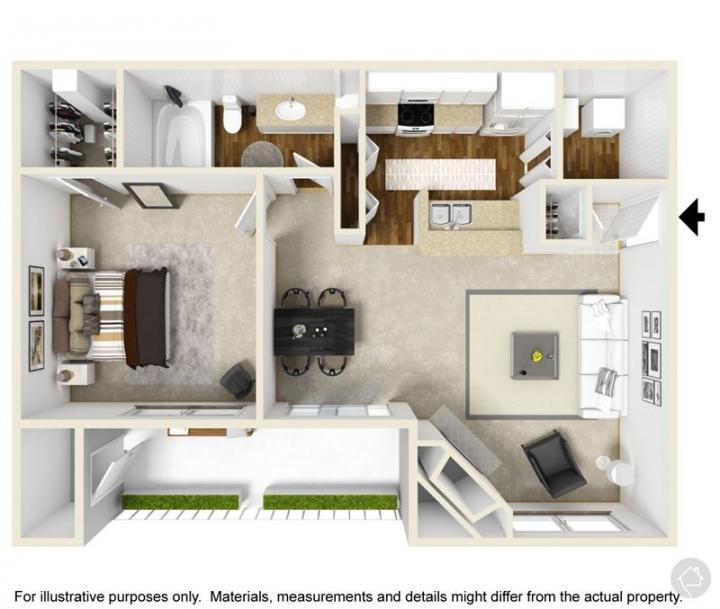 1/1 701 sqft floor plan
