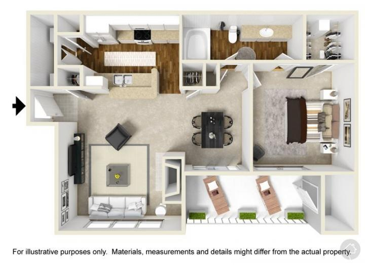 1/1 774 sqft floor plan