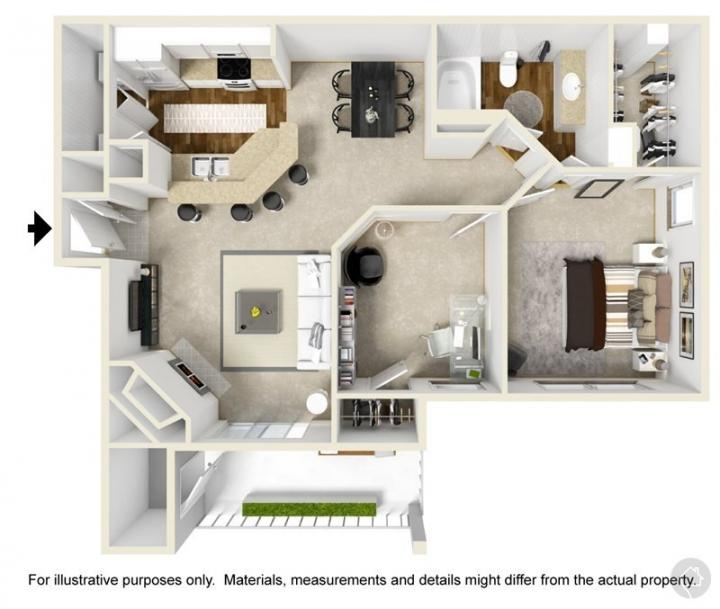 1/1 910 sqft floor plan
