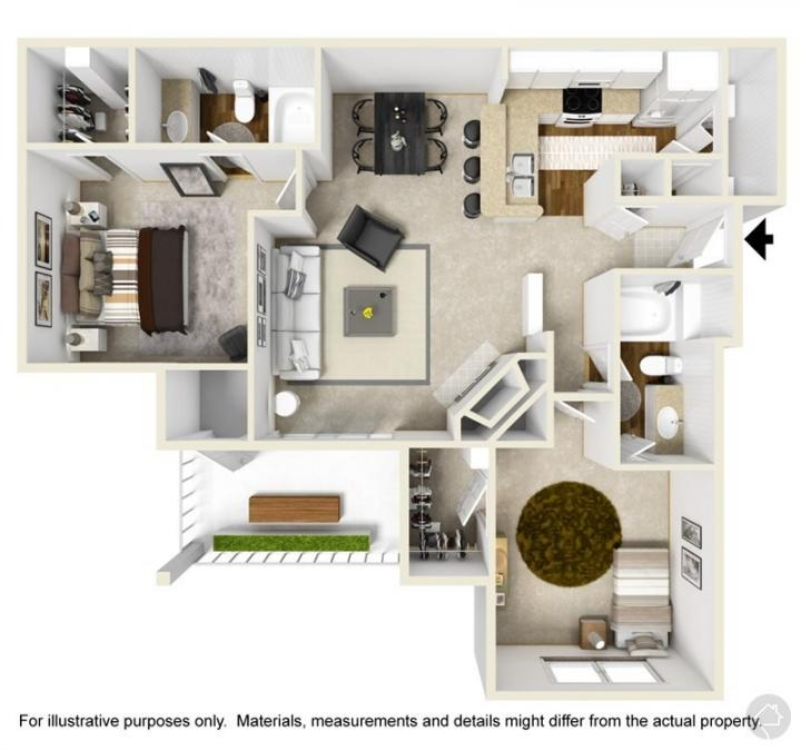 2/2 1033 sqft floor plan