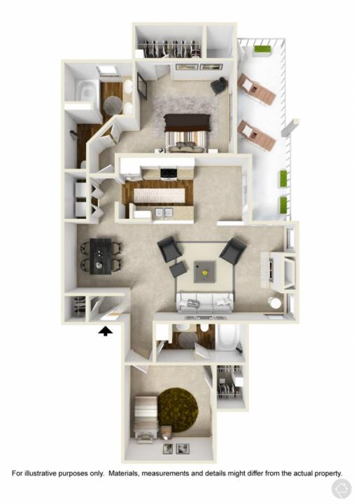 2/2 1186 sqft floor plan