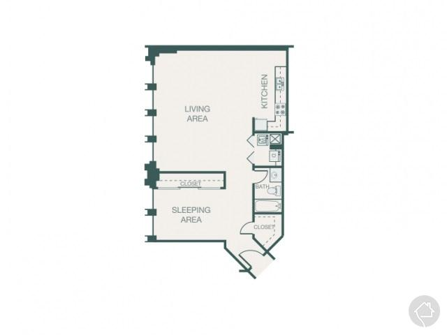 2/1 882 sqft floor plan