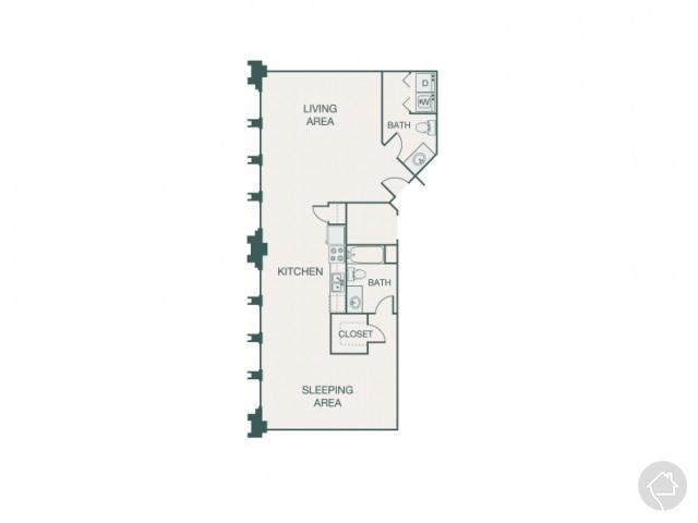 1/1 954 sqft floor plan