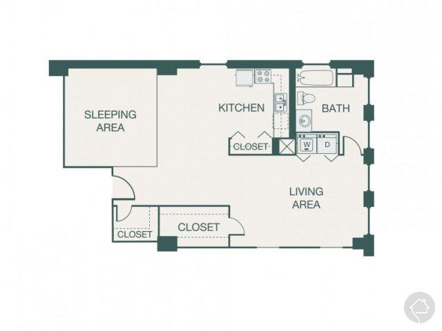1/1 841 sqft floor plan