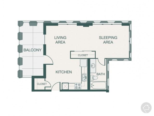 0/1 550 sqft floor plan