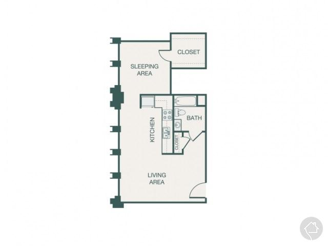 1/1 617 sqft floor plan