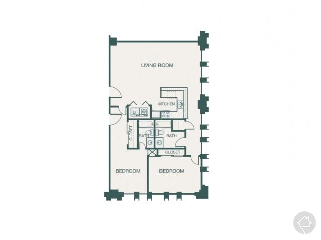 2/2 1194 sqft floor plan