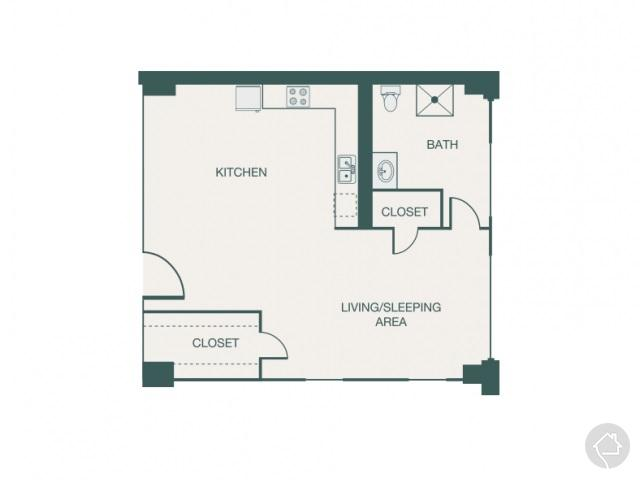 0/1 576 sqft floor plan