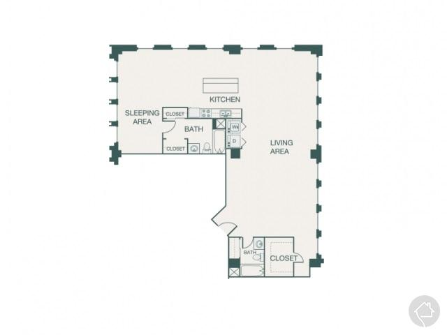 1/1 1536 sqft floor plan
