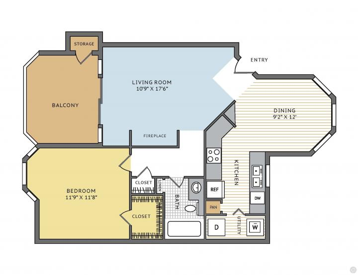 1/1 757 sqft floor plan