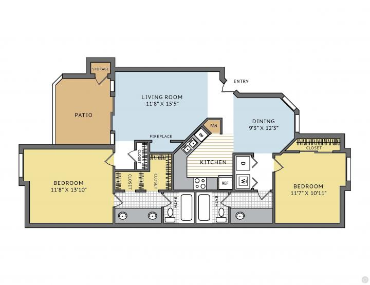 2/2 1058 sqft floor plan
