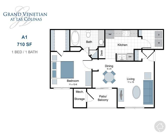 1/1 710 sqft floor plan
