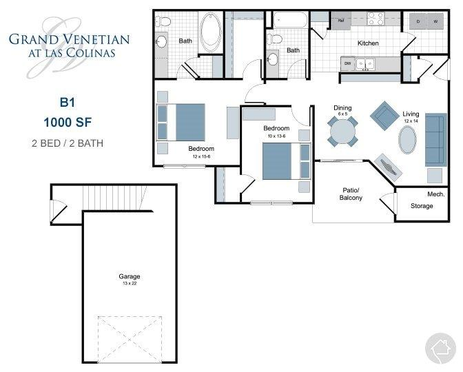 2/2 1000 sqft floor plan