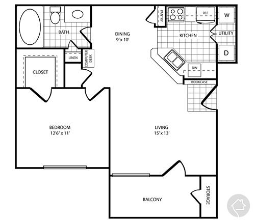 1/1 745 sqft floor plan