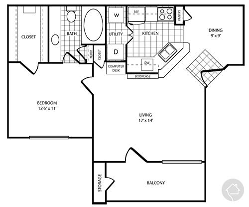 1/1 782 sqft floor plan