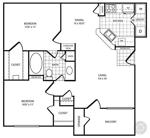 2/1 913 sqft floor plan