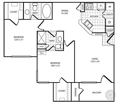 2/2 972 sqft floor plan
